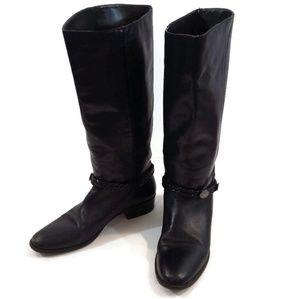 Unisa Black Leather Knee High Boots